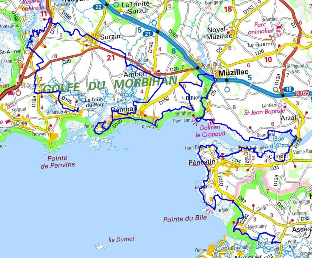 GR34 Walking from Vannes to Le Tour du Parc (Morbihan)