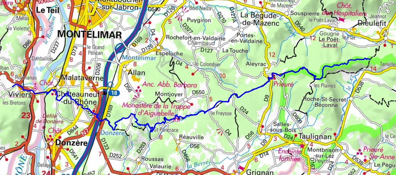 GR429 Hiking from Dieulefit (Drome) to Viviers (Ardeche)