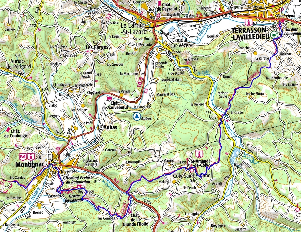 GR461 Walking from Montignac to Terrasson-Lavilledieu (Dordogne)
