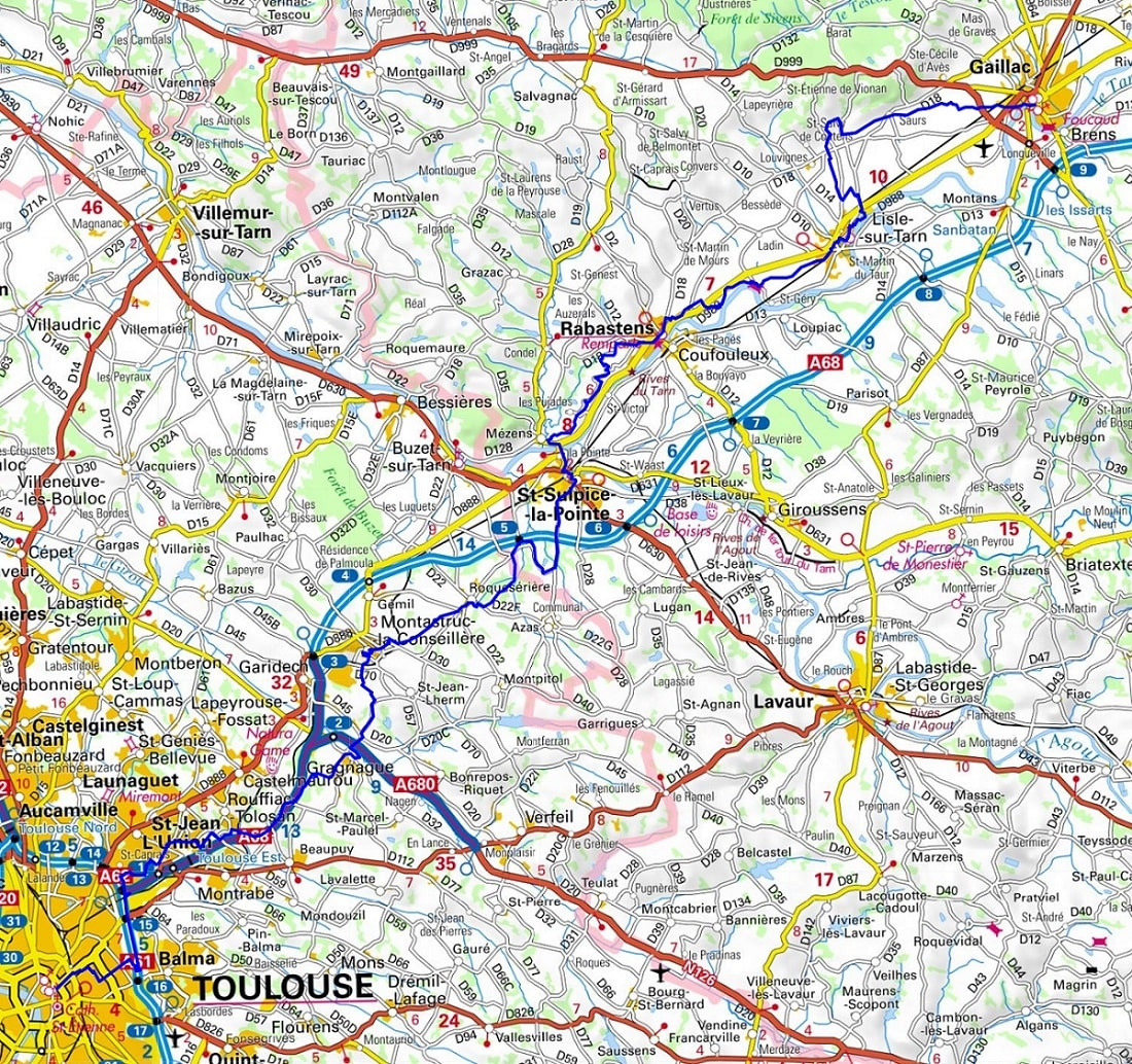 GR46 Hiking from Gaillac (Tarn) to Toulouse (Haute-Garonne) 1