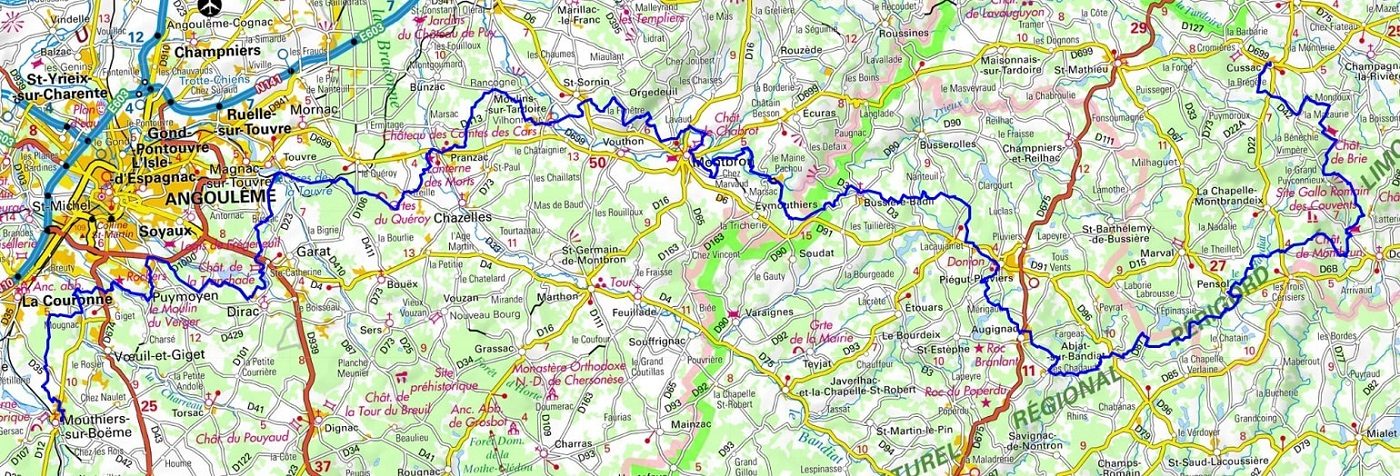 GR4 Hiking from Mouthiers-sur-Boeme (Charente) to Cussac (Haute-Vienne) 1