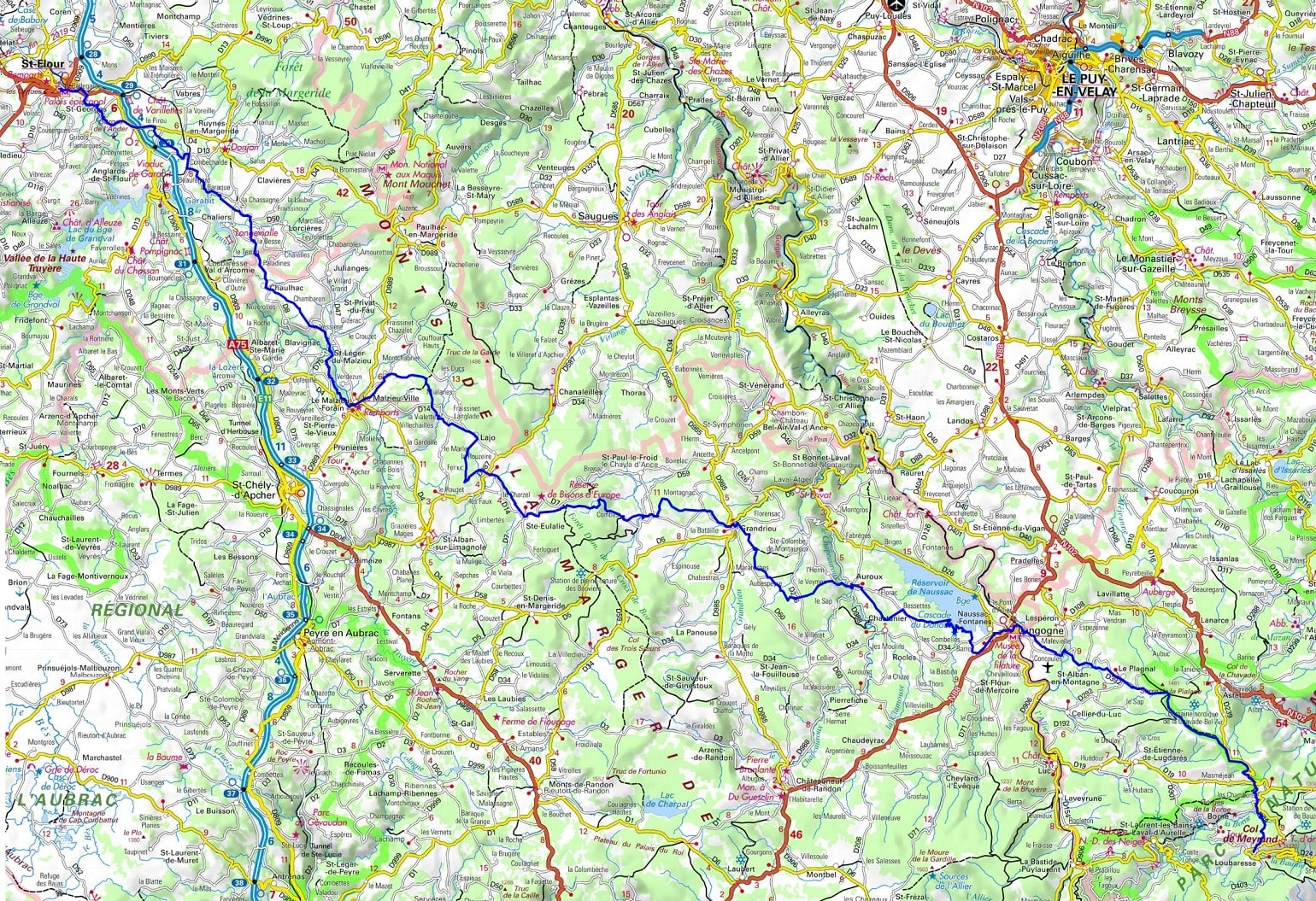 GR4 Hiking from St Flour (Cantal) to Loubaresse (Ardeche) 1