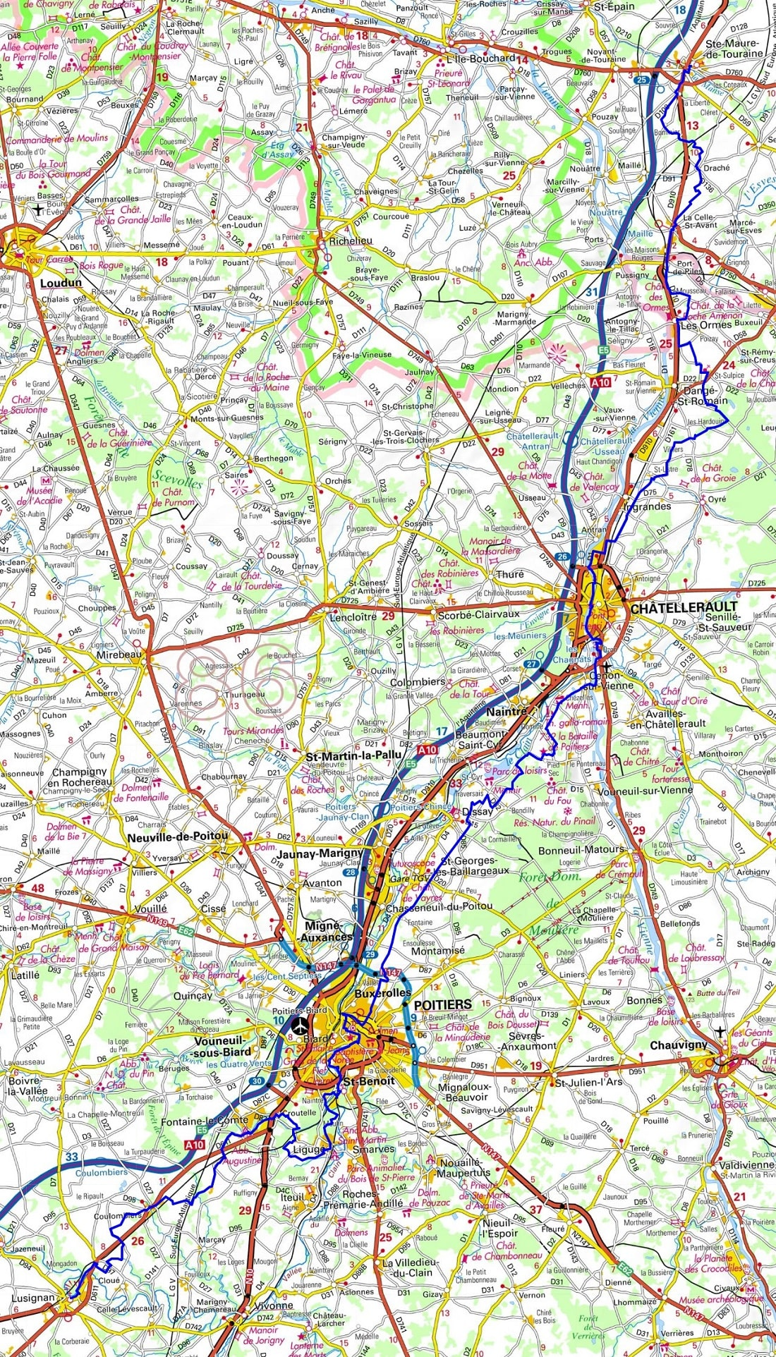 GR655 Hiking from Ste-Maure-de-Touraine (Indre-et-Loire) to Lusignan (Vienne)