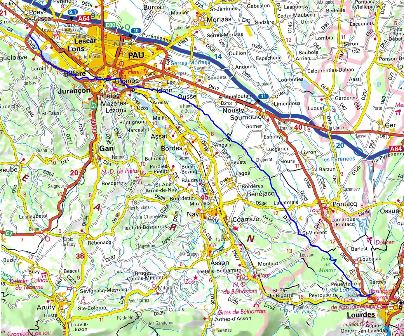GR782 Henri IV Way. Hiking from Lourdes (Hautes-Pyrenees) to Artiguelouve (Pyrenees-Atlantiques) 1