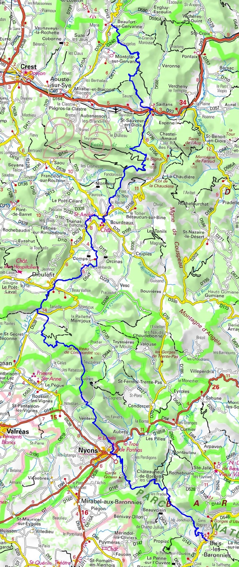 GR9 Hiking from Beaufort-sur-Gervanne to Buis-les-Baronnies (Drome)